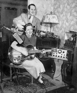 Les Paul & Mary Ford using some of Les's earliest recording equipment.  They would set up in hotels as they toured the country