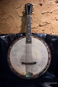 "During the Dixieland Jazz craze of the 1920's and 30s, Gibson made everything into a banjo!  This 1929 (est) Gibson ""Banjolin"" was what I learned to play mandolin on.  For some reason Stephen allowed me to take this bad boy to college with me..."